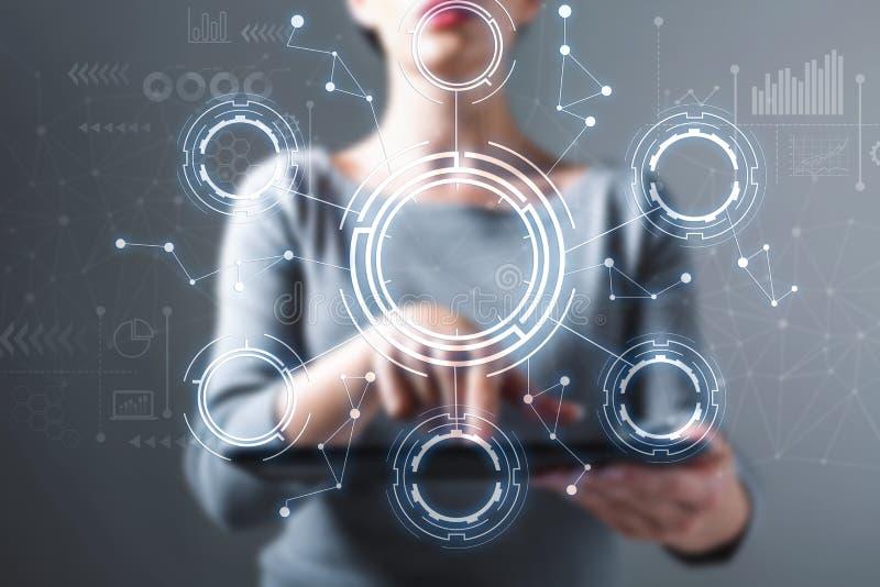 Cerchio di tecnologia con la donna che per mezzo di una compressa immagine stock libera da diritti