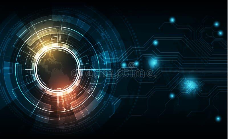 Cerchio di tecnologia di vettore con varia progettazione tecnologica illustrazione di stock
