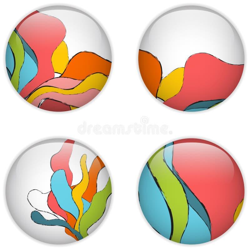 Cerchio di vetro con le onde variopinte illustrazione di stock