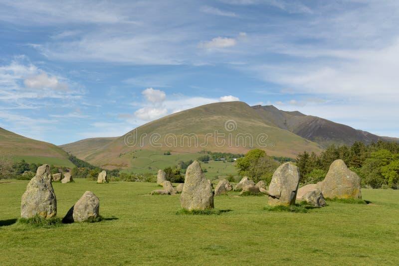 Cerchio e Blencathra della pietra di Castlerigg fotografia stock