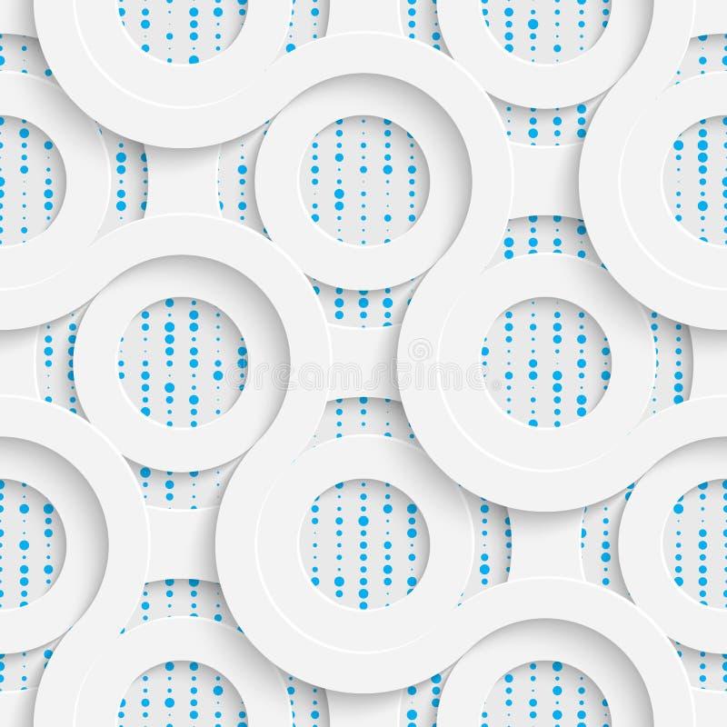Cerchio e modello di Wave senza cuciture Bianco e Backgr di spostamento blu royalty illustrazione gratis