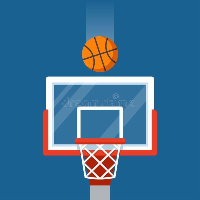 Cerchio e sfera di pallacanestro illustrazione vettoriale