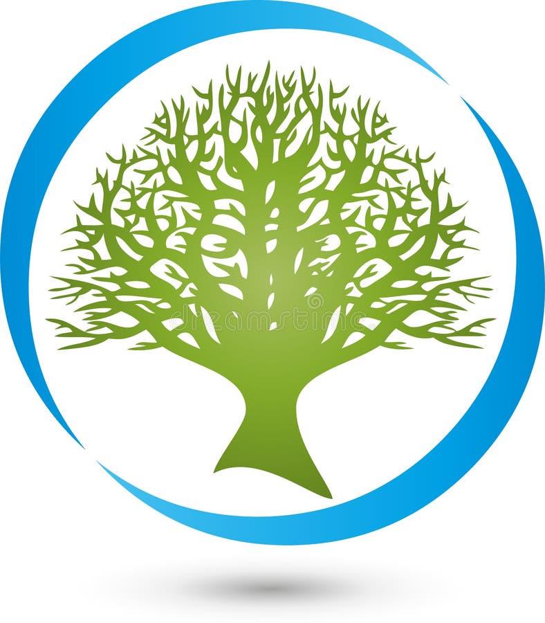 Cerchio ed albero, pianta nel logo di verde, di benessere e della natura illustrazione di stock