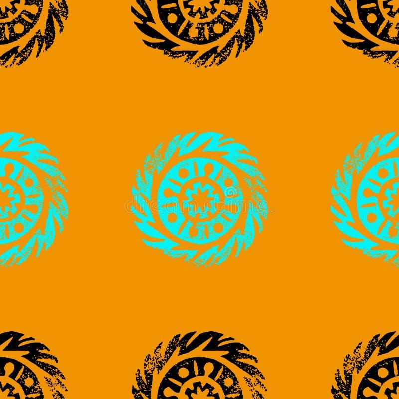 Cerchio etnico, tribale, indigeno, mandala Linocut disegnato a mano Reticolo senza giunte Africano, messicano, indiano, ornamento illustrazione vettoriale
