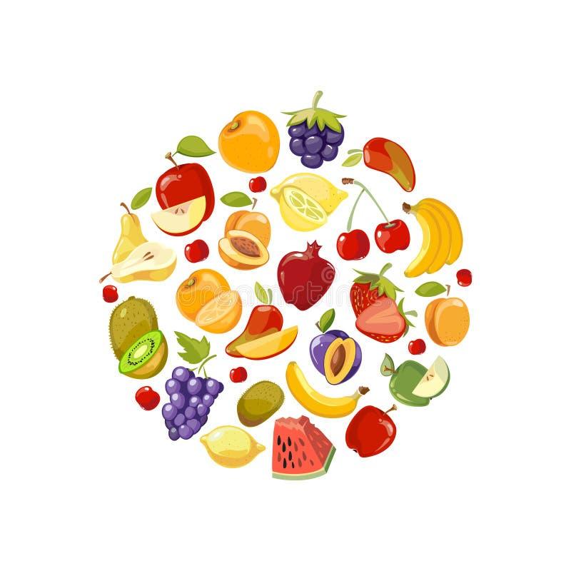 Cerchio fatto delle icone piane di vettore di frutti Fondo sano di concetto dell'alimento biologico illustrazione vettoriale