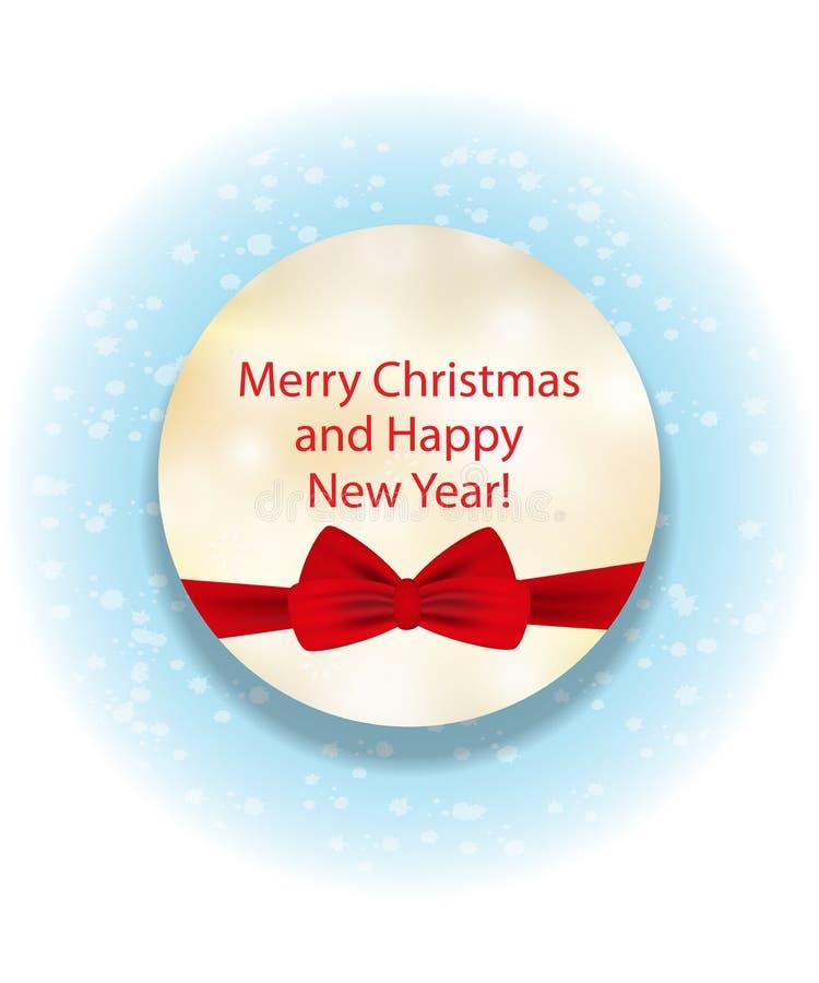 Cerchio giallo decorativo elegante con l'arco rosso per il Natale e illustrazione di stock