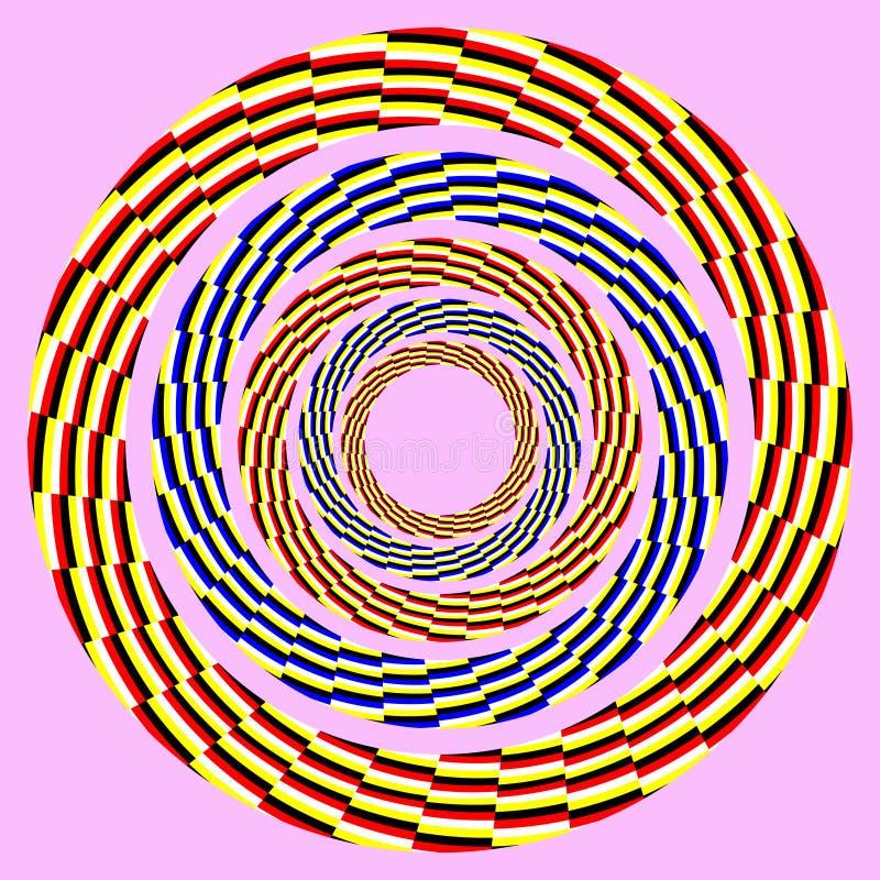 Cerchio girante eccentrico. illusione ottica illustrazione di stock