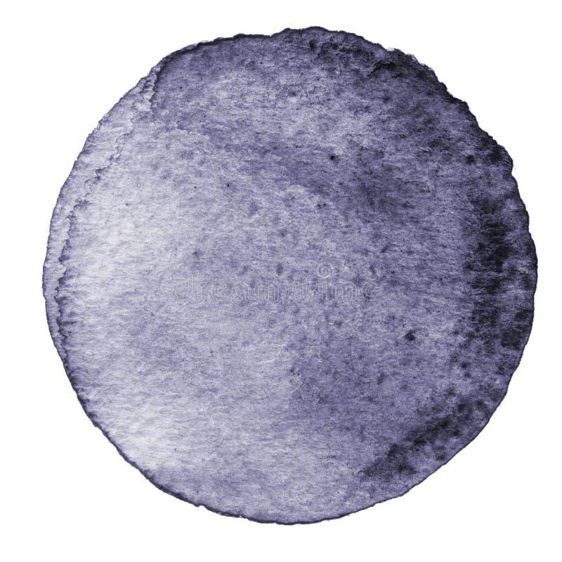 Cerchio grigio dell'acquerello Macchia con struttura di carta Elemento di progettazione isolato su fondo bianco Modello astratto  illustrazione di stock
