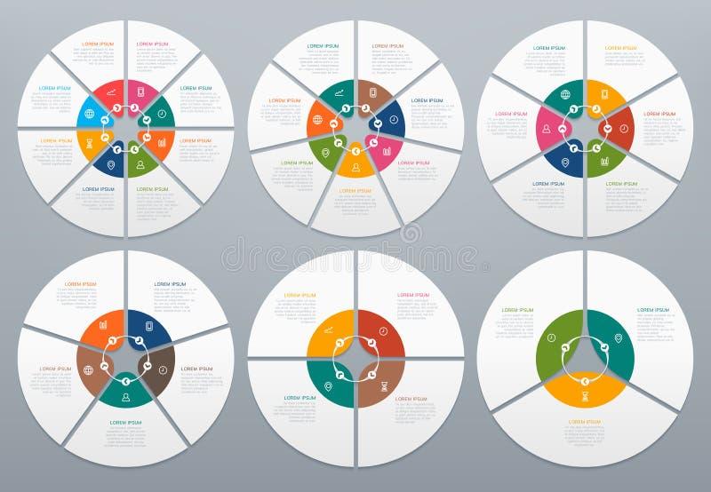 Cerchio infographic Diagramma rotondo dei punti trattati, diagramma a superficie circolare con la freccia Cerchi e vettore dei gr illustrazione vettoriale