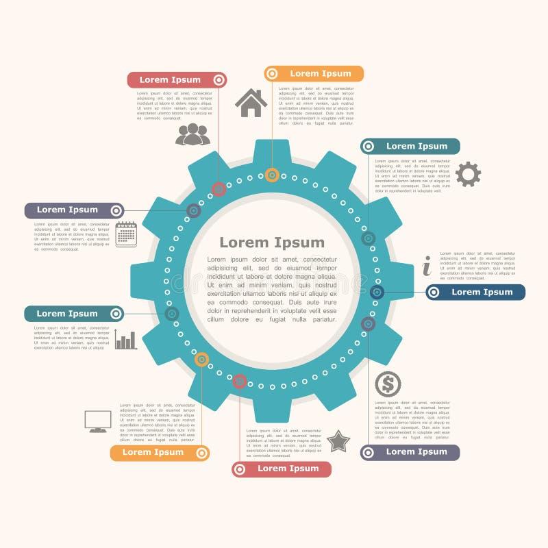 Cerchio Infographics con l'ingranaggio illustrazione vettoriale