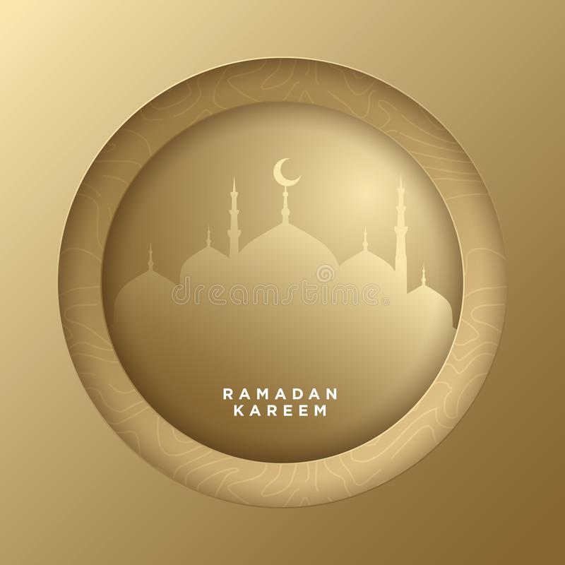 Cerchio islamico per il fondo dell'insegna di saluto di vettore del kareem del Ramadan con stile del taglio della carta patinata, royalty illustrazione gratis