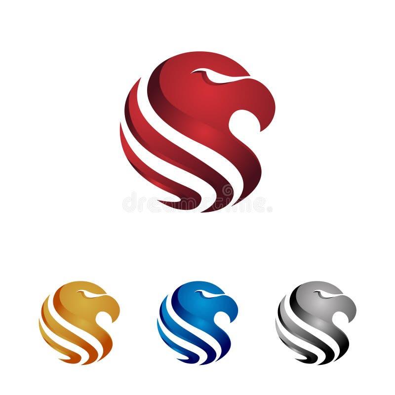 Cerchio lucido astratto Eagle Head Logo Template illustrazione vettoriale