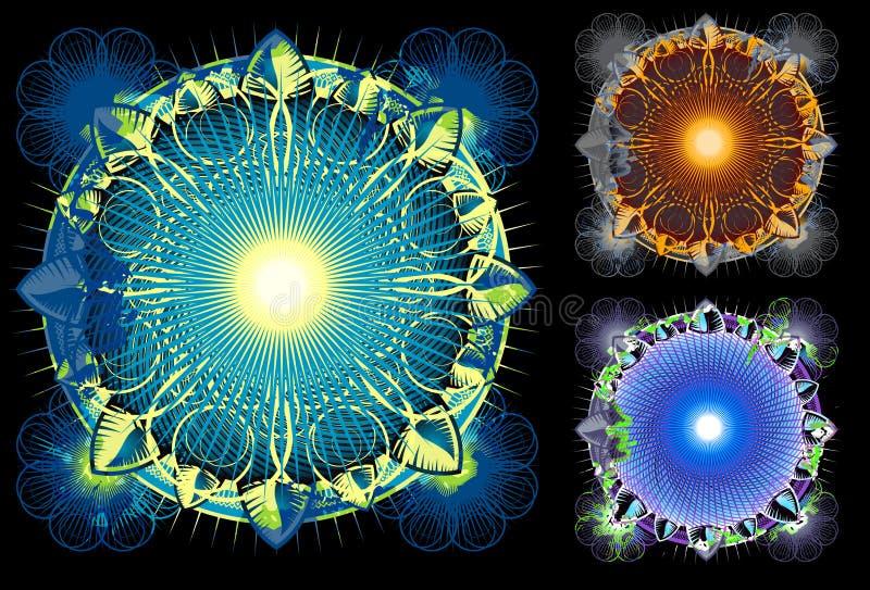 Cerchio luminoso lucido della mandala in azzurro illustrazione di stock