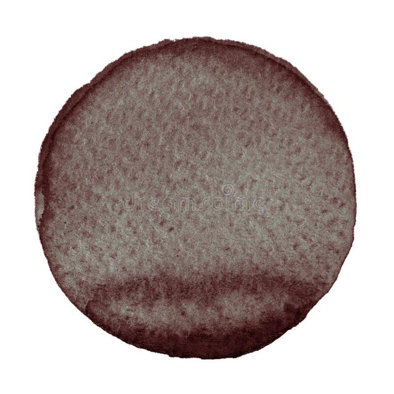 Cerchio marrone dell'acquerello su fondo bianco fotografia stock