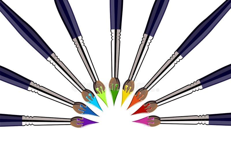 Cerchio mezzo dei pennelli con i colori illustrazione vettoriale