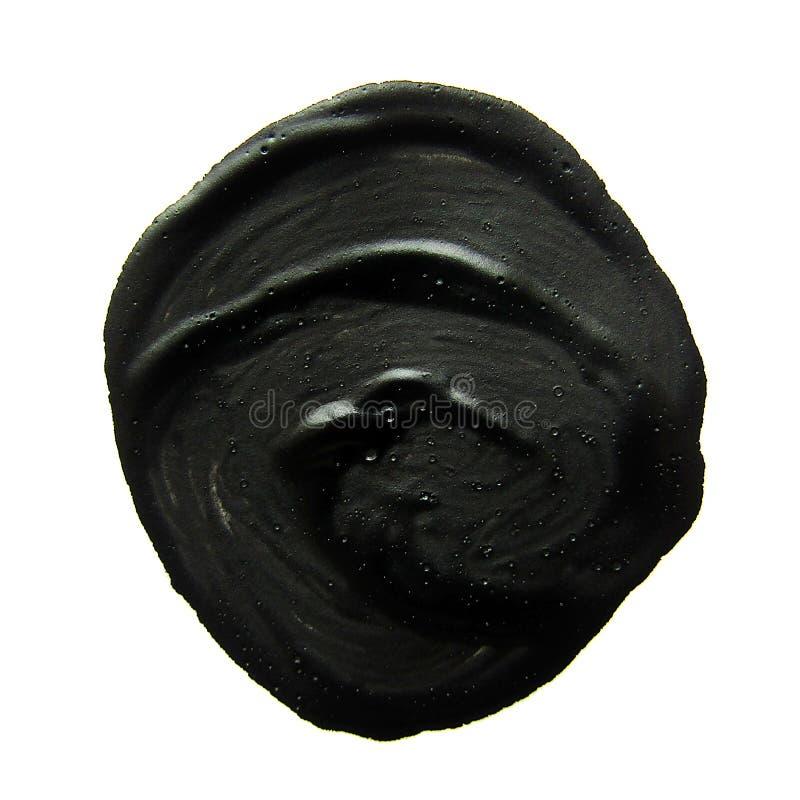 Cerchio nero Colpo astratto della spazzola di gouache fotografia stock libera da diritti