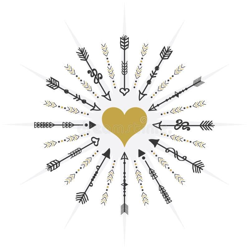 Cerchio nero e dorato che mira alle frecce ed all'icona del cuore su fondo bianco illustrazione vettoriale