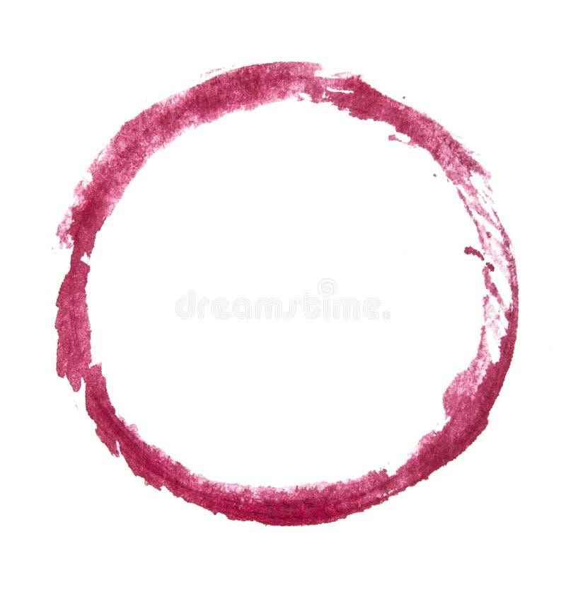 Cerchio rosso, struttura del colpo della spazzola Isolato fotografia stock
