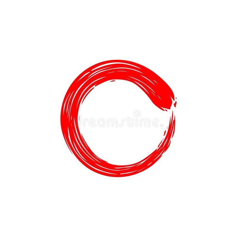 Cerchio rosso Zen Enso, inchiostro, acquerello, illustrazione, progettazione di vettore, purezza royalty illustrazione gratis