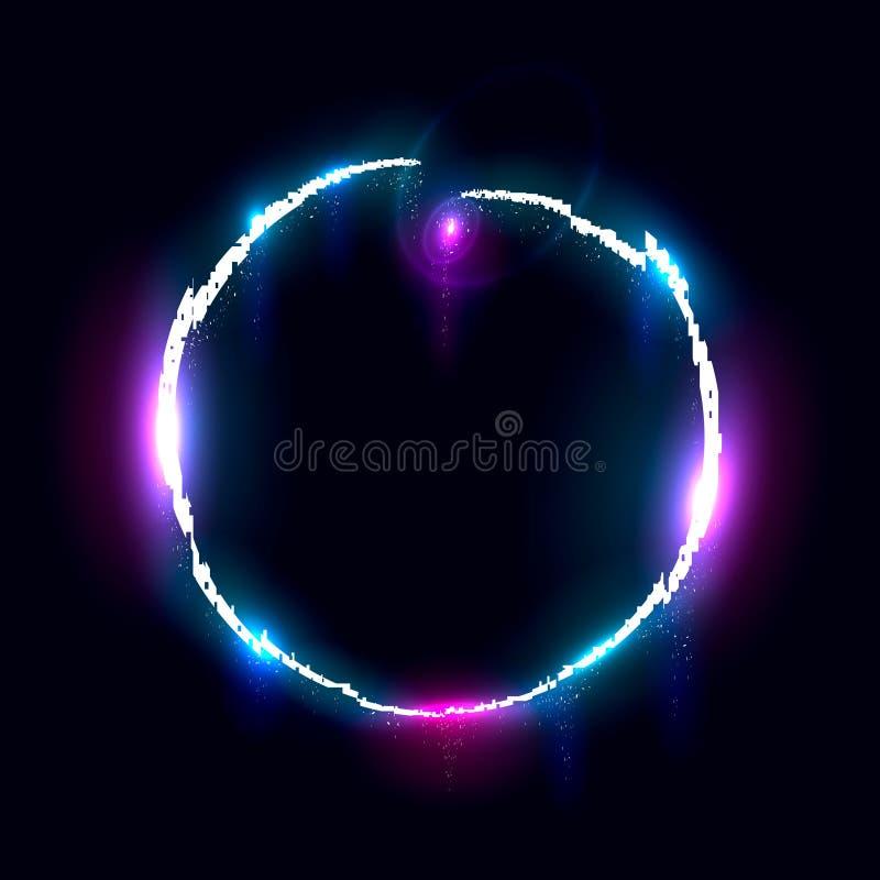 Cerchio sprofondante Illuminated, elemento di progettazione per l'insegna, aletta di filatoio, carta, manifesto illustrazione di stock