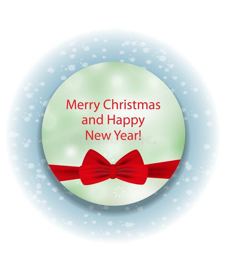 Cerchio verde decorativo elegante con l'arco rosso per il Natale e la N illustrazione di stock