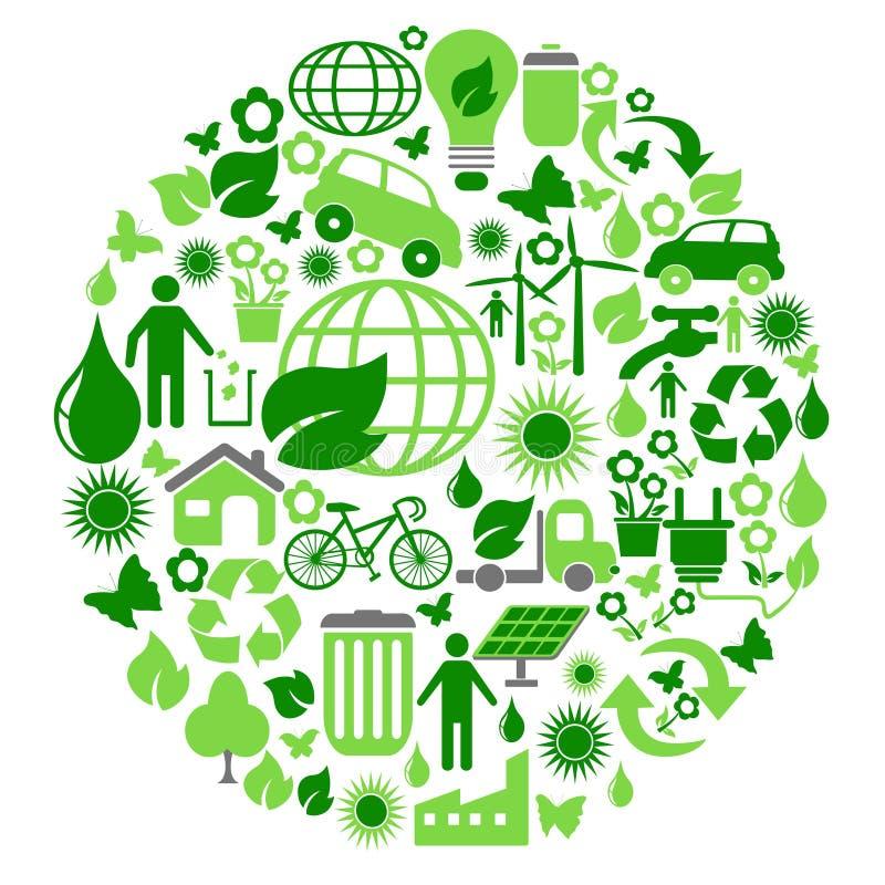 Cerchio verde di eco illustrazione di stock