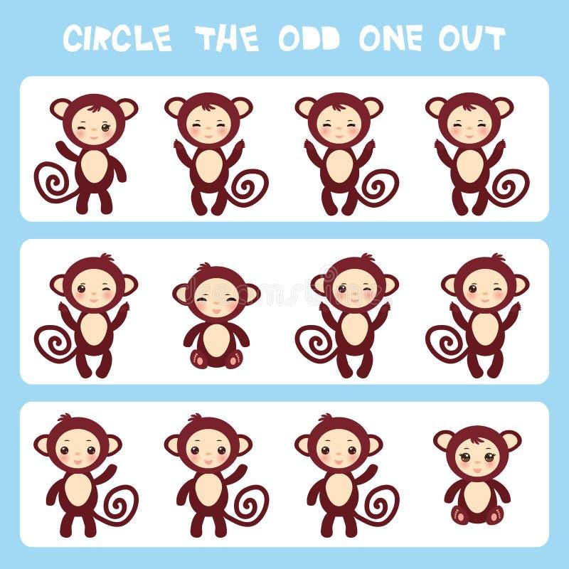 Cerchio visivo di puzzle di logica quello dispari fuori Kawaii brunisce la scimmia con le guance e gli occhi rosa sbattere le pal illustrazione di stock