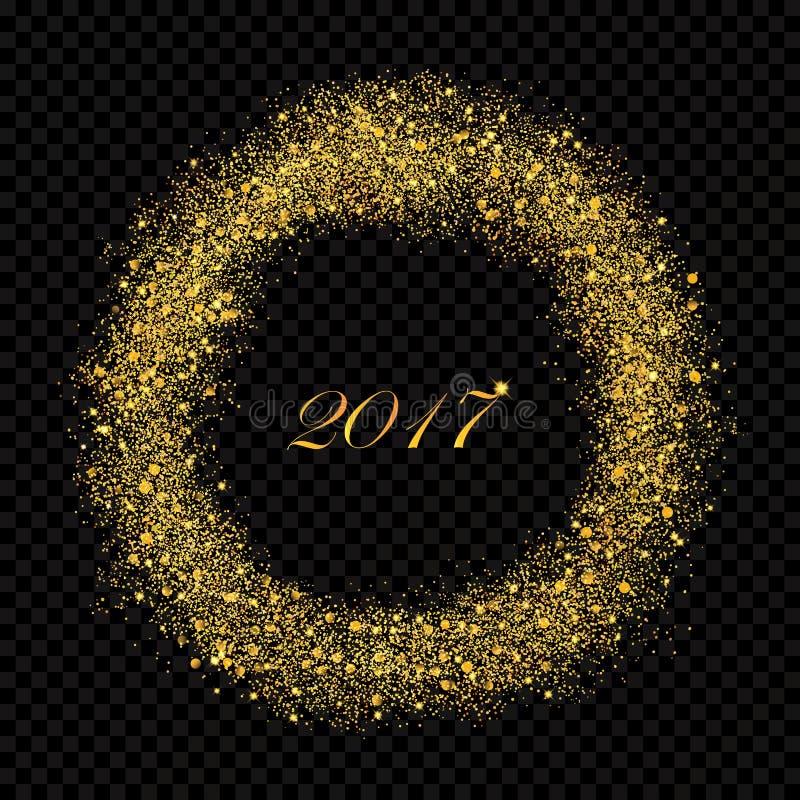Cercle éclatant de pluie de la poussière d'étoile d'or d'abrégé sur nouvelle année 2017 sur l'alpha fond Rich Golden Explosion illustration de vecteur