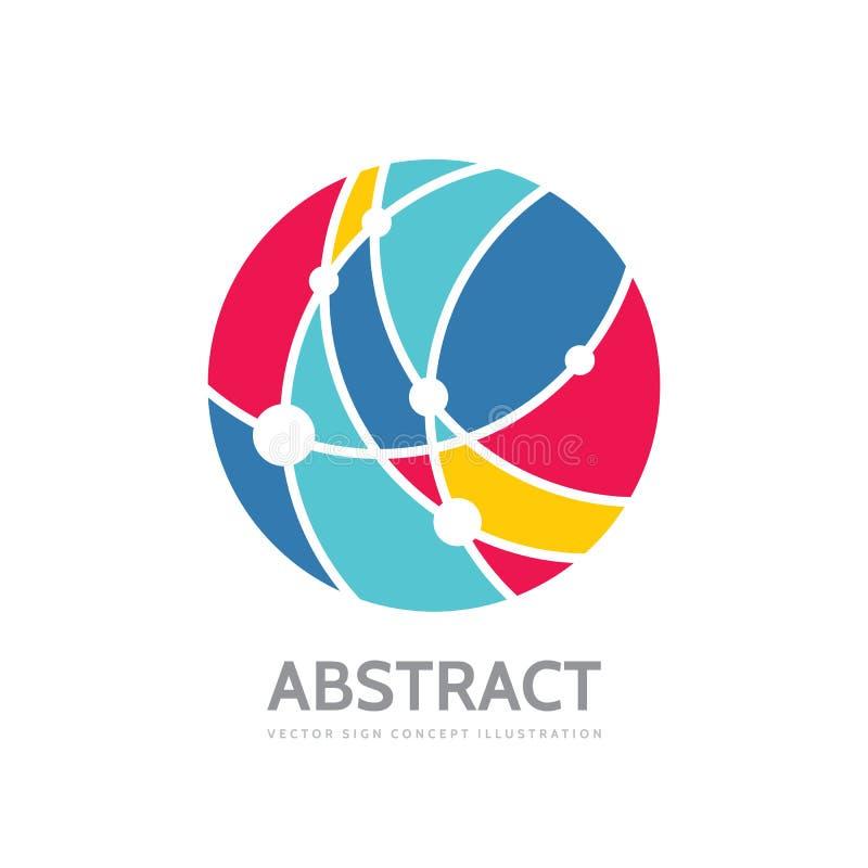 Cercle abstrait - dirigez l'illustration de concept de calibre de logo Signe moderne de technologie Symbole créatif de réseau glo illustration stock
