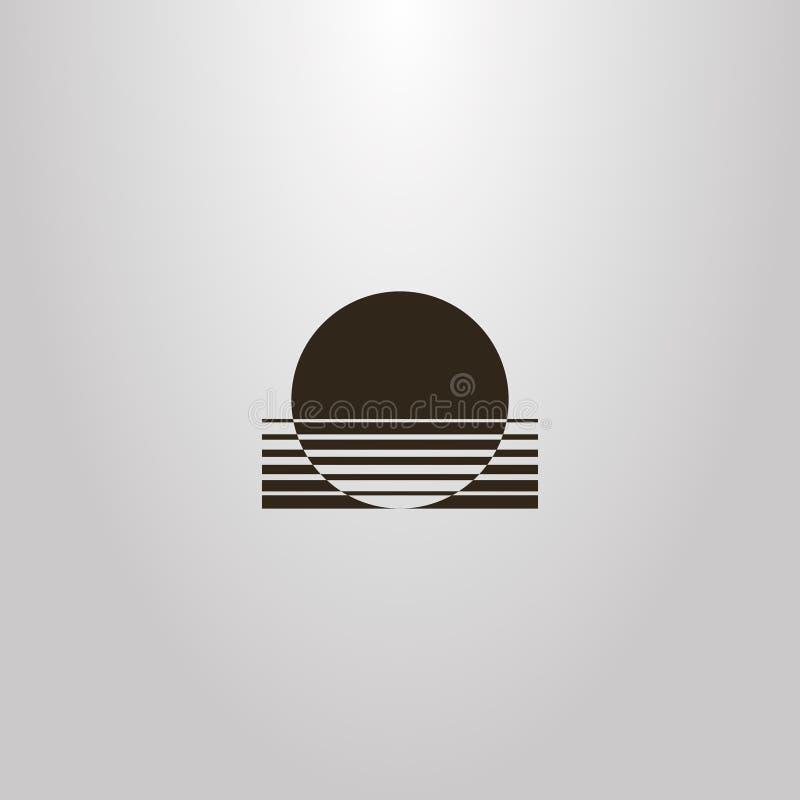 Cercle abstrait géométrique de signe d'ensemble de vecteur du soleil entrant vers le bas dans l'eau illustration stock