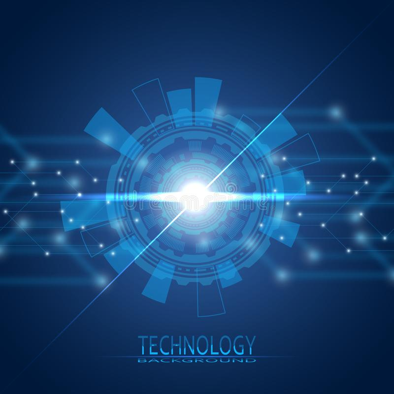 Cercle abstrait siècle 21 L'ère de nouvelles technologies Un déjeuner sec dans une cuillère illustration libre de droits