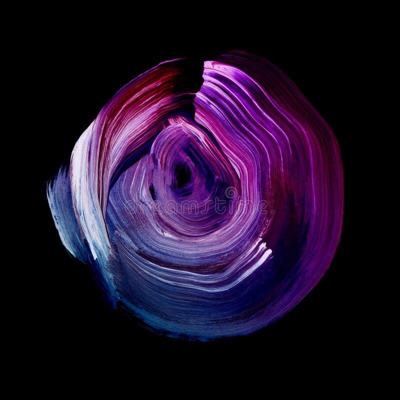 Cercle acrylique texturisé bleu violet Tache pour aquarelle sur le fond noir illustration libre de droits