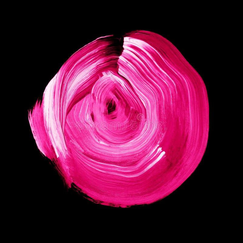Cercle acrylique texturisé de millefeuille rose Tache pour aquarelle sur le fond noir illustration de vecteur