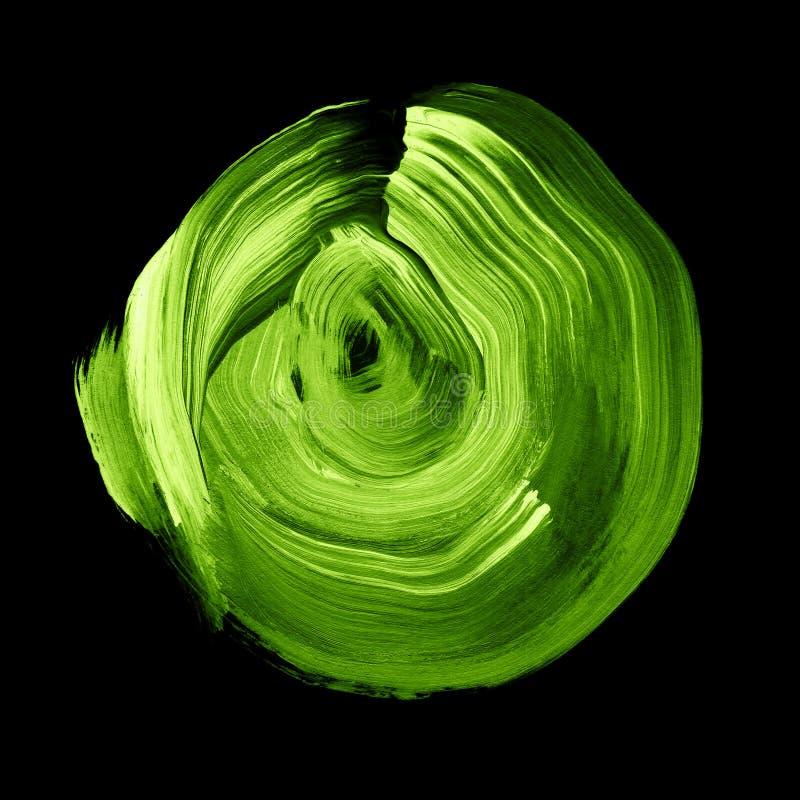 Cercle acrylique texturisé de verdure verte Tache pour aquarelle sur le fond noir illustration de vecteur