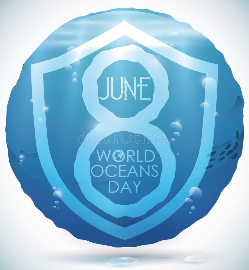 Cercle aqueux avec la vue de l'eau pour la célébration de jour d'océans du monde, illustration de vecteur illustration stock