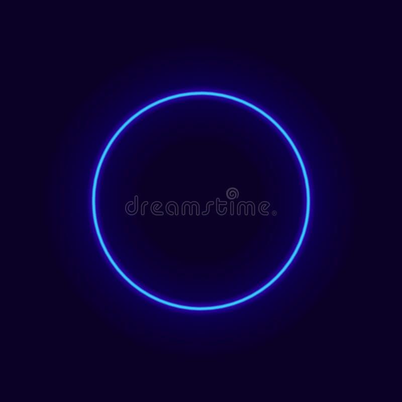 Cercle au néon de vecteur, cadre de lueur, effet d'éclat illustration de vecteur