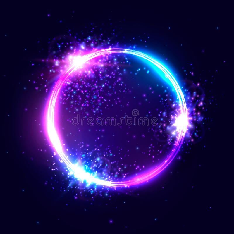Cercle au néon vibrant de vecteur avec les particules rougeoyantes illustration stock