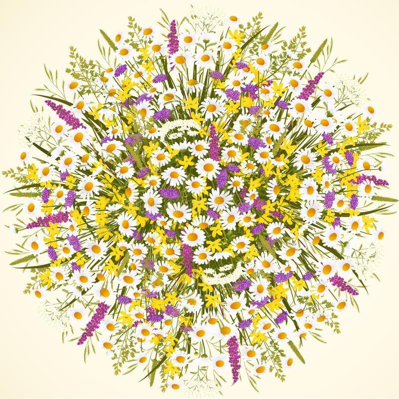 Cercle avec des fleurs illustration de vecteur