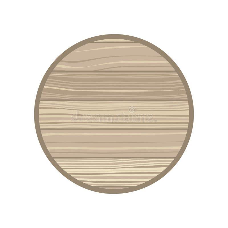 Cercle avec l'ic?ne d'isolement par texture en bois illustration libre de droits