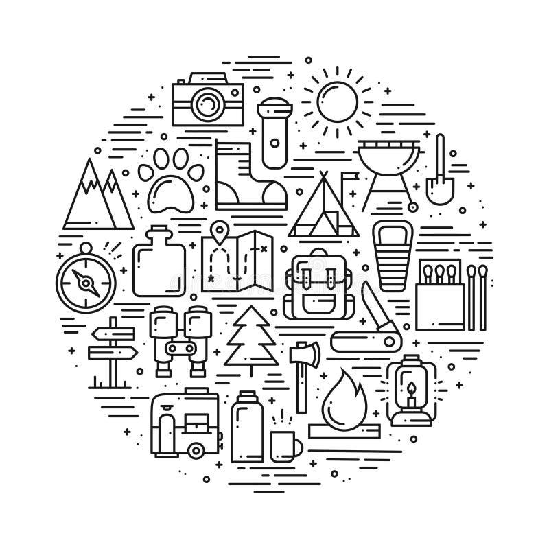 Cercle avec la ligne de hausse et campante symboles dans la ligne style Thème extérieur de concept d'aventure de camp Hausse uniq illustration stock