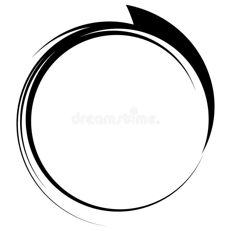 Cercle avec la ligne dynamique cadre de bruissement Eleme circulaire monochrome illustration libre de droits