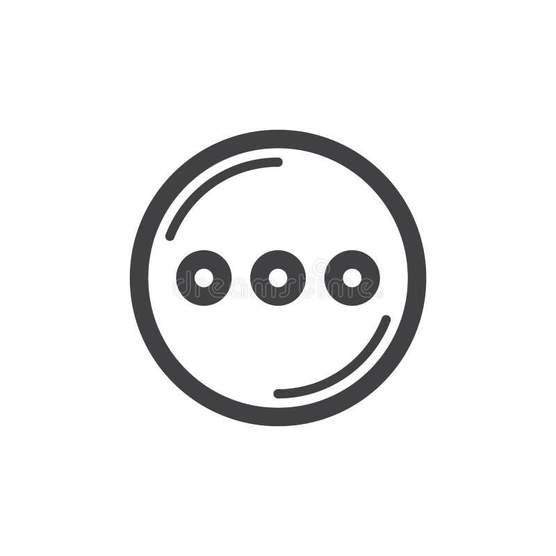 Cercle avec la ligne icône de trois points illustration stock