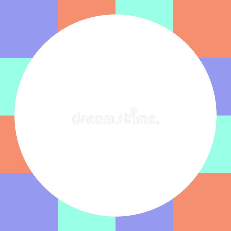 Cercle blanc vide sur des places bloc à carreaux, arc-en-ciel multi de couleur de contrôleur de bannière de calibre, doux coloré  illustration stock
