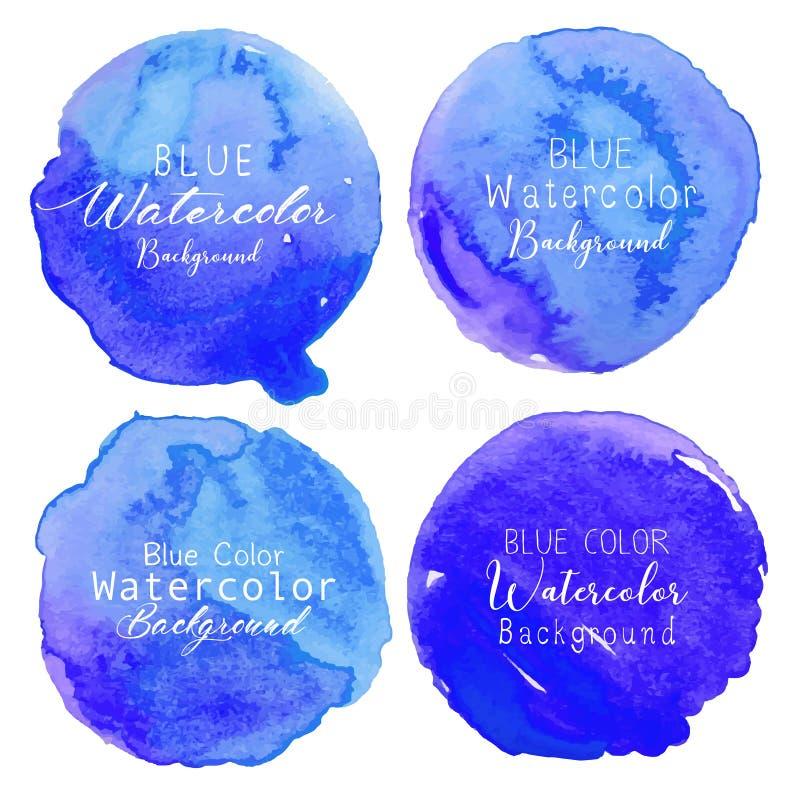 Cercle bleu d'aquarelle réglé sur le fond blanc illustration stock