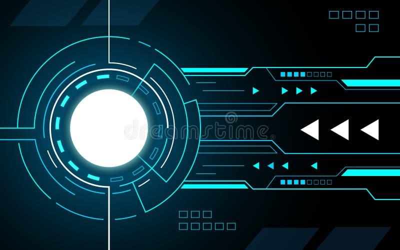 Cercle bleu géométrique abstrait technologie future interface hud illustration stock