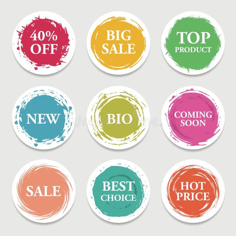 Cercle coloré de papier de vecteur, autocollant, label, bannière avec des courses de brosse illustration de vecteur