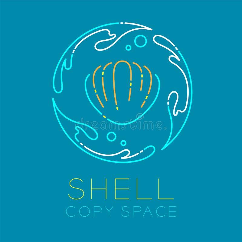 Cercle d'éclaboussure de mollusques et crustacés, d'eau et contour d'icône de logo de bulle d'air illustration de vecteur