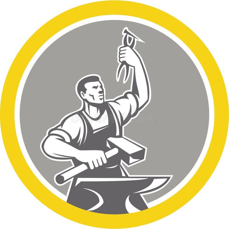 Cercle d'enclume de Worker Holding Pliers de forgeron rétro illustration stock