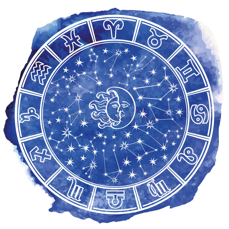 Cercle d'horoscope de connexion de zodiaque Aquarelle bleue illustration stock