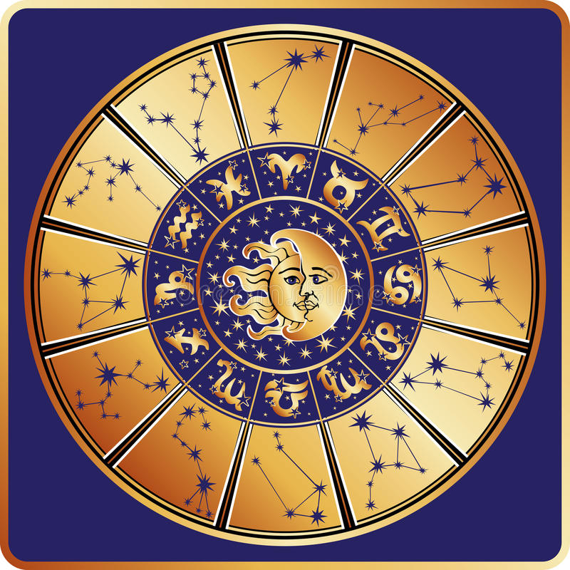 Cercle d'horoscope Signe de zodiaque avec des constellations illustration de vecteur